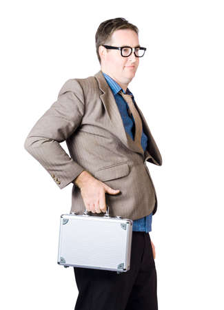 nerdy: Portrait Of A Nerdy Businessman Travelling With Aluminum Briefcase