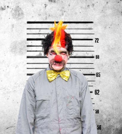transgression: Bucko The Soon To Be Married Clown Looks Very Unhappy During A Funny Police Identification Photo After A Bucks Party Gone Wrong