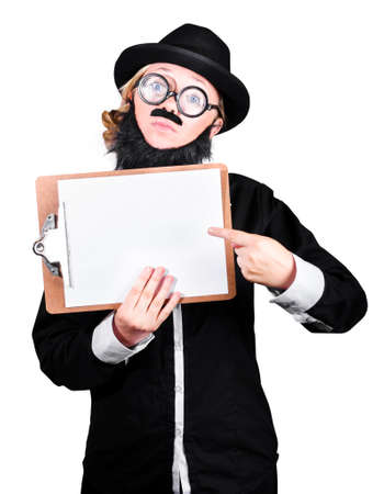 disguised: Woman Disguised As Man Pointing On Clipboard Over White Background Stock Photo