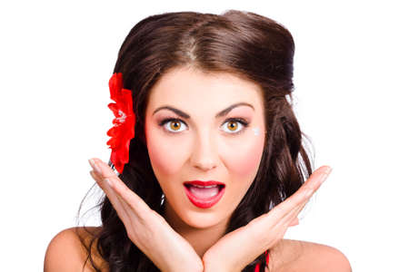 red flower: Close-up portrait on the face of a beautiful surprised pinup girl. Retro delight Stock Photo