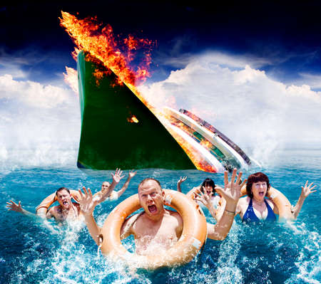 ship bow: Trouble In Paradise Concept As Five Hysterical Tourists Wearing Life Rings Scream And Wave In The Ocean For Help And Rescue After An Accident Sinks Their Boat