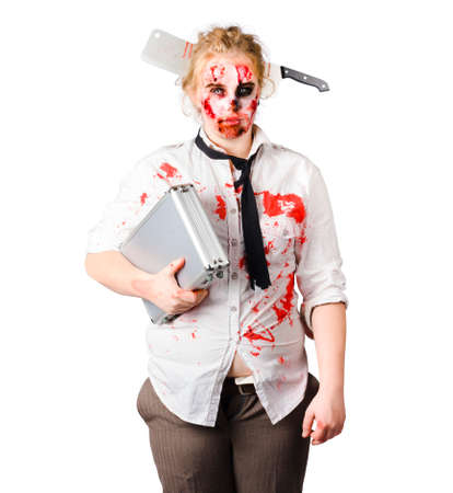 whack: A woman in zombie makeup and costume with a aluminium suitcase. Bad work conditions
