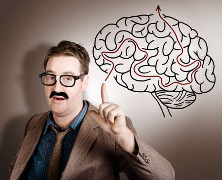 business mind: Business man thinking up creative idea with mind intelligence when pointing to a brain maze illustration