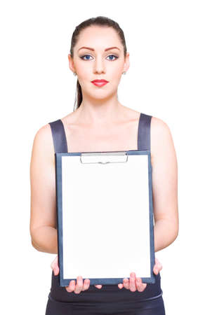 merchandising: Saleswoman Or Sales Woman Showcasing Product Advertising On Blank Copyspace Clipboard In A Display Of Merchandising, Commerce And Marketing Information