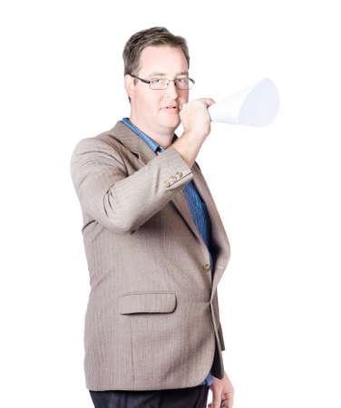 making an announcement: Isolated picture of a business man in suit making marketing announcement with megaphone Stock Photo