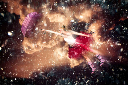 floats: Unique Artwork Of A Ballerina Wearing Tutu And Holding Umbrella Flying Around In The Pouring Rain And Thunder When Dancing In The Rain