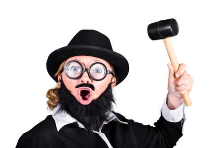 male costume: Woman In Strange Male Costume Raising Mallet On White Background