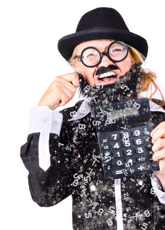 tearful: Woman dressed as male accountant with calculator crying numbers instead of tears, accounts deficit concept white background