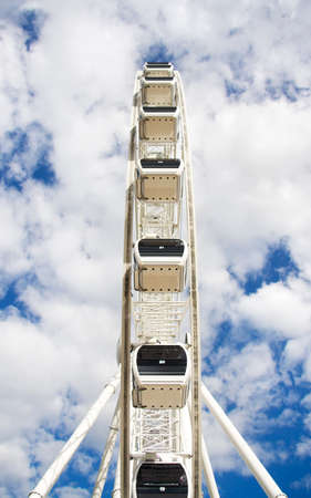 dreamy: Ferris Wheel Spins In A Dreamy Blue Clouded Haze