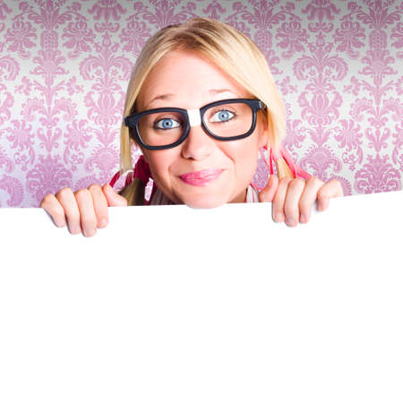 content marketing: Cute Nerd Business Woman Holding A Blank Banner Board With Advertising Copyspace