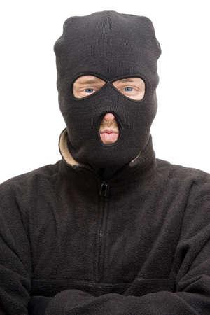 malandros: Cabeza y parte superior del cuerpo Retrato De Un Ladrón aislado Llevaba Un Ladrón Balaclava