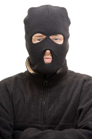 malefactor: Head And Upper Body Portrait Of An Isolated Burglar Wearing A Burglar Balaclava