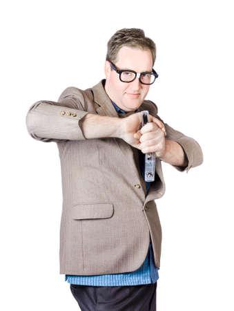 white playful: Playful Businessman Holding Stapler On White Background