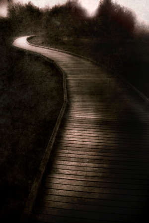 woodland  horror: Textured Grungy Vertical Image Of A Curving Wood Walkway Leading Into A Desolate Forest Of Darkness Stock Photo