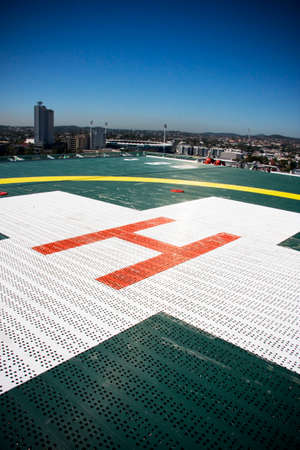 helicopter pad: Helicopter Landing Pad On The Rooftop Of A Hospital Stock Photo