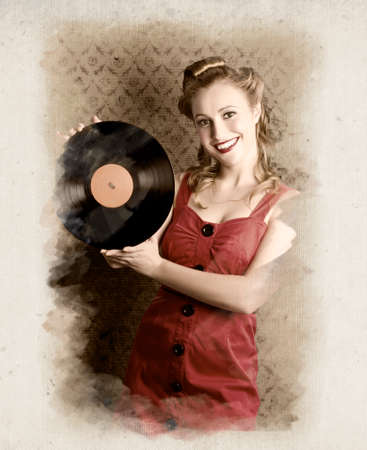60's: Smiling Vintage Pin-Up Girl Holding American Record In A Depiction Of 60s Rockabilly Life Style