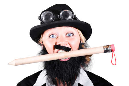 large woman: Woman With Fake Mustache And Beard Holding Large Pencil In Mouth