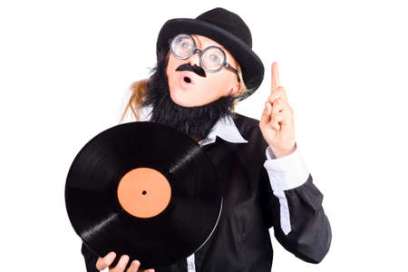 emphasizing: Female dj or disc jockey spinning up copyspace while holding a retro LP record. Launch party concept