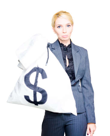 humbled: Sad Poor And Humbled Business Woman Hands Over A Dollar Sign Money Bag After Going Bust Or Broke From A Under Performing Bear Stock Market In Profit And Loss