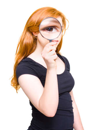clue: Woman Holding Looking Glass Or Magnifying Glass Up To Eye To Enlarge A Clue While On A Search For Research Analysis In Discovery, On White Background