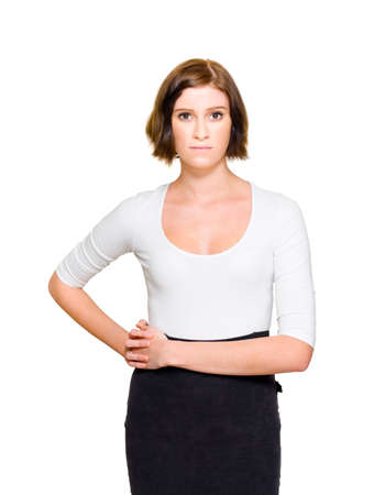 frustrating: Confused Unsure And Hesitant Business Woman Looks On-Camera With A Questioning Expression To Seek Answers And Solutions To Working Problems, White Background