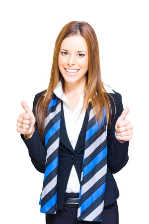 studio photograph: Studio Photograph Of A Successful Business Woman Holding Both Thumbs Up In A Sign Of Victory Achievement Goal Attainment And Business Success, White Background Stock Photo