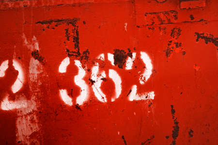 deteriorating: 362 Numbered On A Rusty Red Industrial Metal Bin