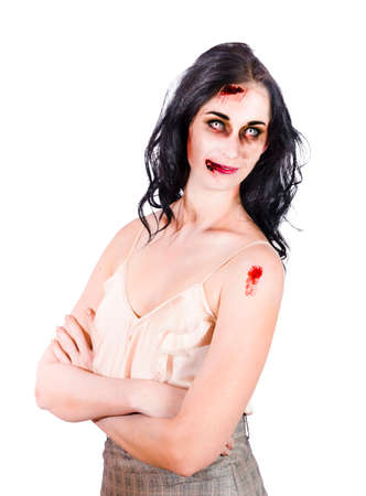 stood up: Young zombie woman arms crossed posing with several facial wounds with bleeding isolated on white background Stock Photo