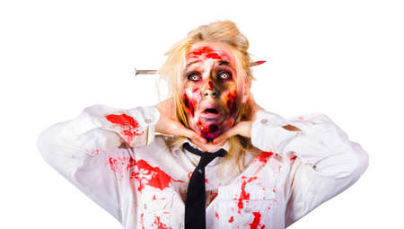 bad business: Isolated image of a crazy zombie business woman covered in blood chocking self with hands in a depiction of bad business Stock Photo