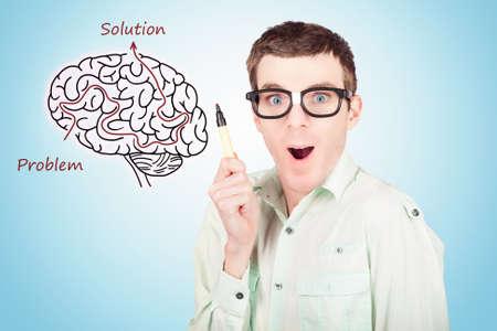Creative businessman drawing upon a creative idea inside a brain illustration maze. Human race in genetic engineering photo