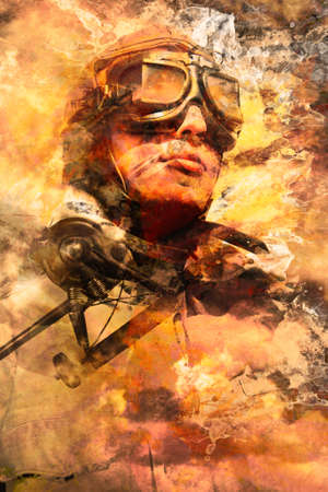 fighter pilot: Creative abstract design of a male pilot montaged with fighter plane in a pastel sky of creative art. Painted pilots at war Stock Photo
