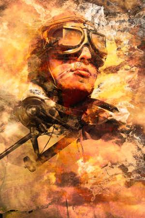 pilotos aviadores: diseño abstracto creativo de un piloto de sexo masculino con montaged avión de combate en un cielo en colores pastel del arte creativo. pilotos pintadas en guerra