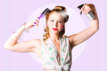 bangle: Retro Portrait Of The Classic 50s Pinup Girl With Perfect Make-Up Combing Hairstyle In A Beauty And Fashion Concept Stock Photo