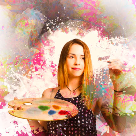 color color palette: Creative portrait of an artistic woman hand painting abstract mural artwork in swatches of bright colors. Adult art class painter