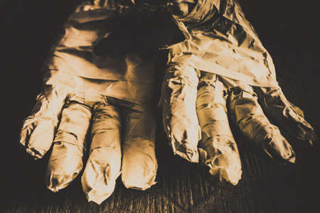mummified: Satanic image of cursed mummified hands emerging from coffin, mummy hands in bandage, horror halloween concept