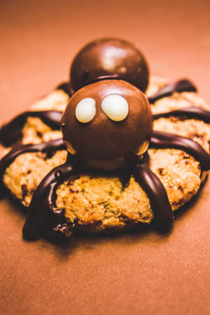 malted: Frightening little spider monster with choc sauce legs and malted chocolate balls candy body. Halloween baked treat