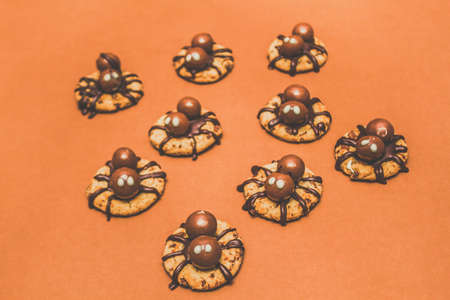 baked treat: Trick or treat Halloween spider biscuits with creepy chocolate spiders crawling over freshly baked crunchy cookies on an orange background