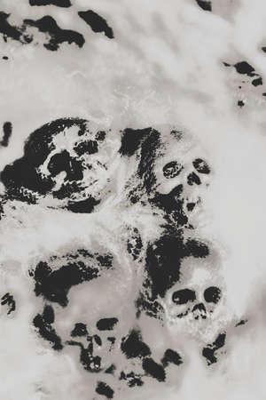grisly: Grainy digital artwork on a dramatic cobwebby skull background with scattered human skulls enveloped in spidery silk Stock Photo