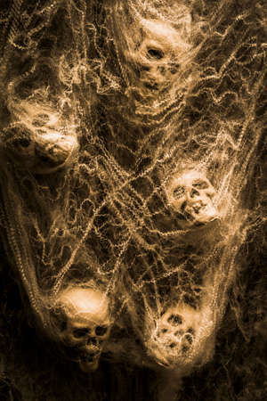 entrapment: Creative sepia horror art of human skulls hanging in spider webs. Web of entrapment
