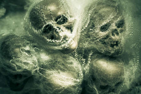 undead: Chilling green terror scene of spooky undead monsters shrieking in a spiderweb of funnelling fright. Haunted undead skeleton heads Stock Photo