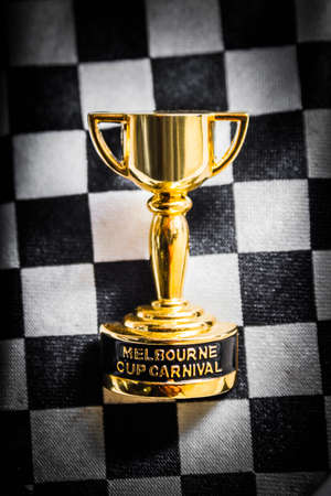life event: Australian event still life on a Melbourne cup racing pin placed on the chequred tie of event goer.  Fashion on the field award