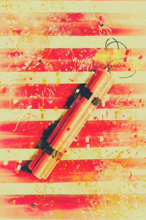 Comic stylised photo on a fiery bomb explosion with sparks spraying over a red and white background. Impact blast