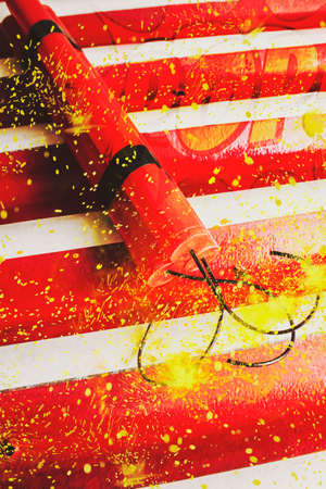 Digital artwork on a red dynamite bomb fusing to detonate in a pulse of overcharged destruction. Cartoon bomb