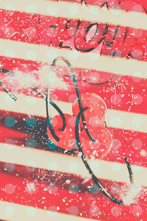 Polka dot comical art on a ignited plastic explosive bomb ready to boom. Abstract dynamite charge Stock Photo