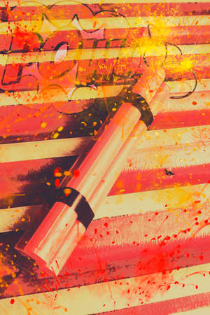 bedlam: Retro comic stylised image of a sparking red bomb with burning wick ready to POW! Explosive comic art