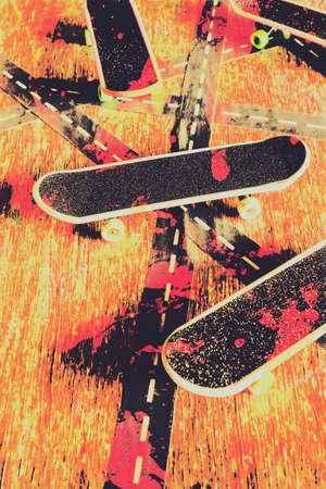 Fine art sports still life on a group of skateboarding decks with grunge spray paint splashes. Grunge skate art