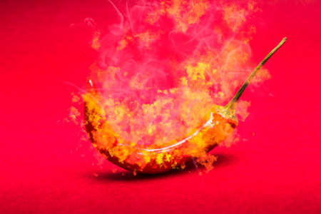 scorching: Digital art food photo on a burning red hot chilli pepper in scorching fire and smoke. Mexican restaurant artwork