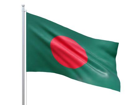 Brandir le drapeau du Bangladesh sur fond blanc, gros plan, isolé. rendu 3D