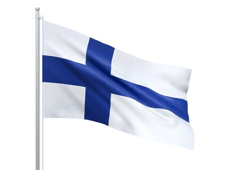 Finland flag waving on white background, close up, isolated. 3D render