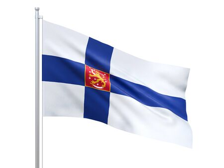 Finland state flag waving on white background, close up, isolated. 3D render